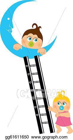 Eps illustration shower greeting. Ladder clipart baby
