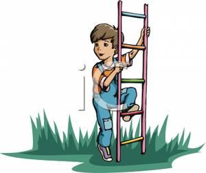 A little climbing royalty. Ladder clipart boy