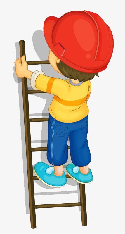 Ladder clipart boy. Little climbing a home