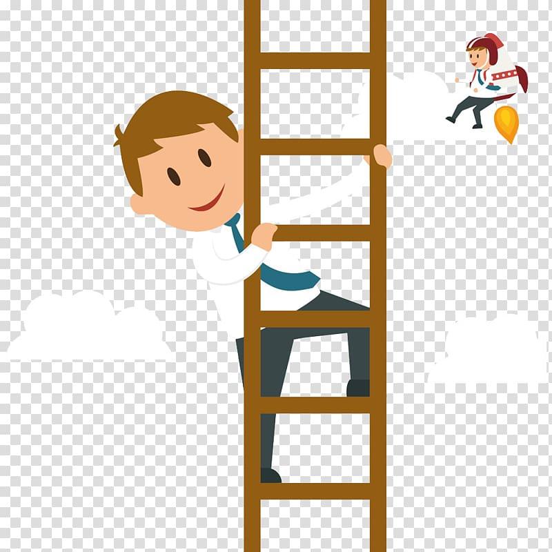 Cartoon businessperson graphic design. Ladder clipart corporate person