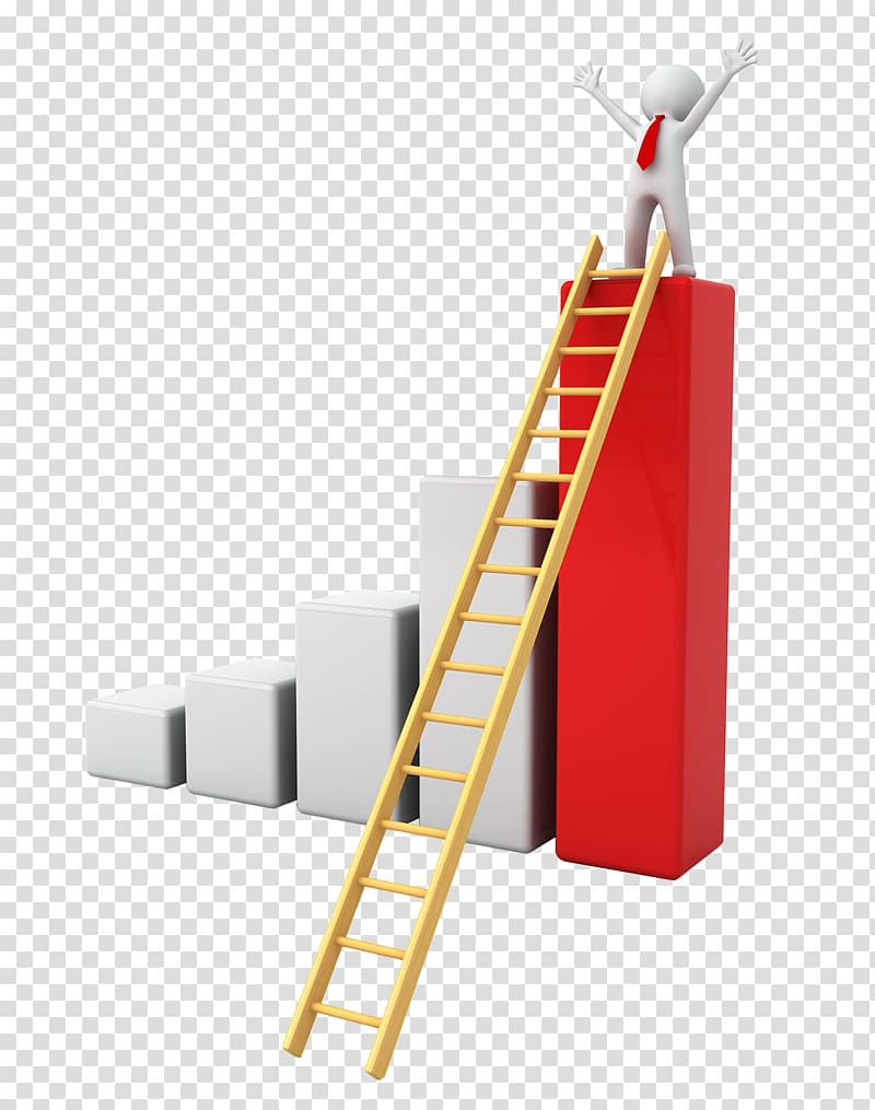 Person on top column. Ladder clipart goal