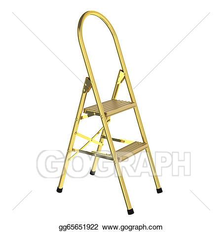 Drawing d rendered . Ladder clipart golden