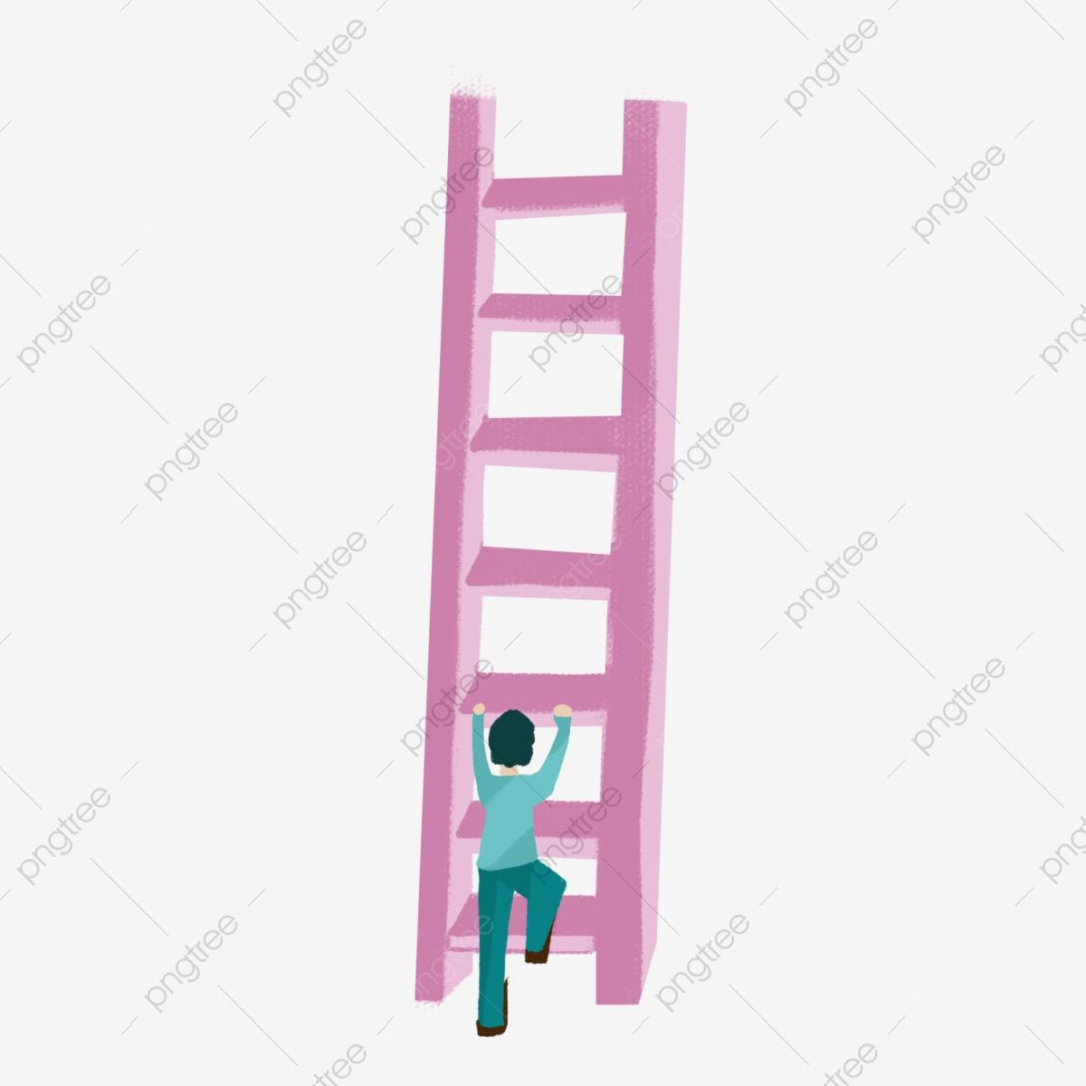 Child climbing a pink. Ladder clipart kid