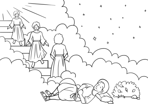 Ladder clipart printable. Jacob s dream coloring