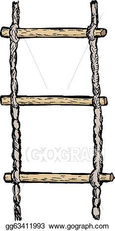 Ladder clipart rope ladder. Vector art drawing gg