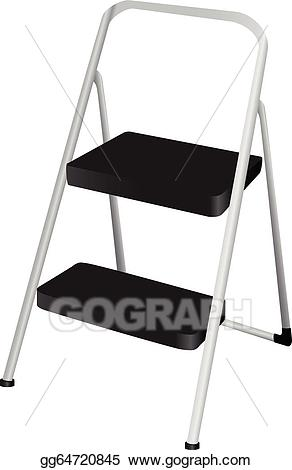 Ladder clipart step stool. Vector folding illustration