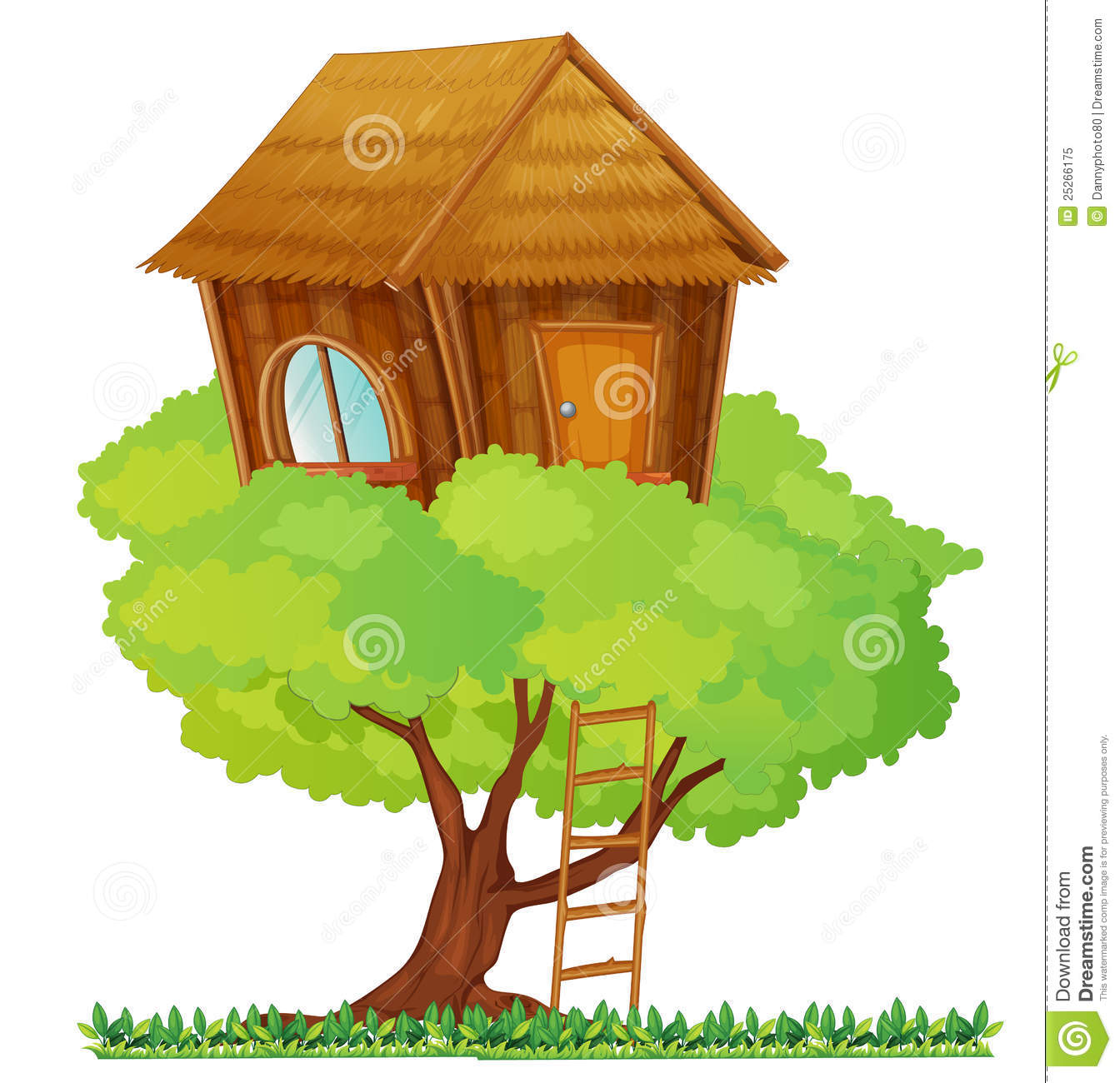 house clip art. Ladder clipart tree fort