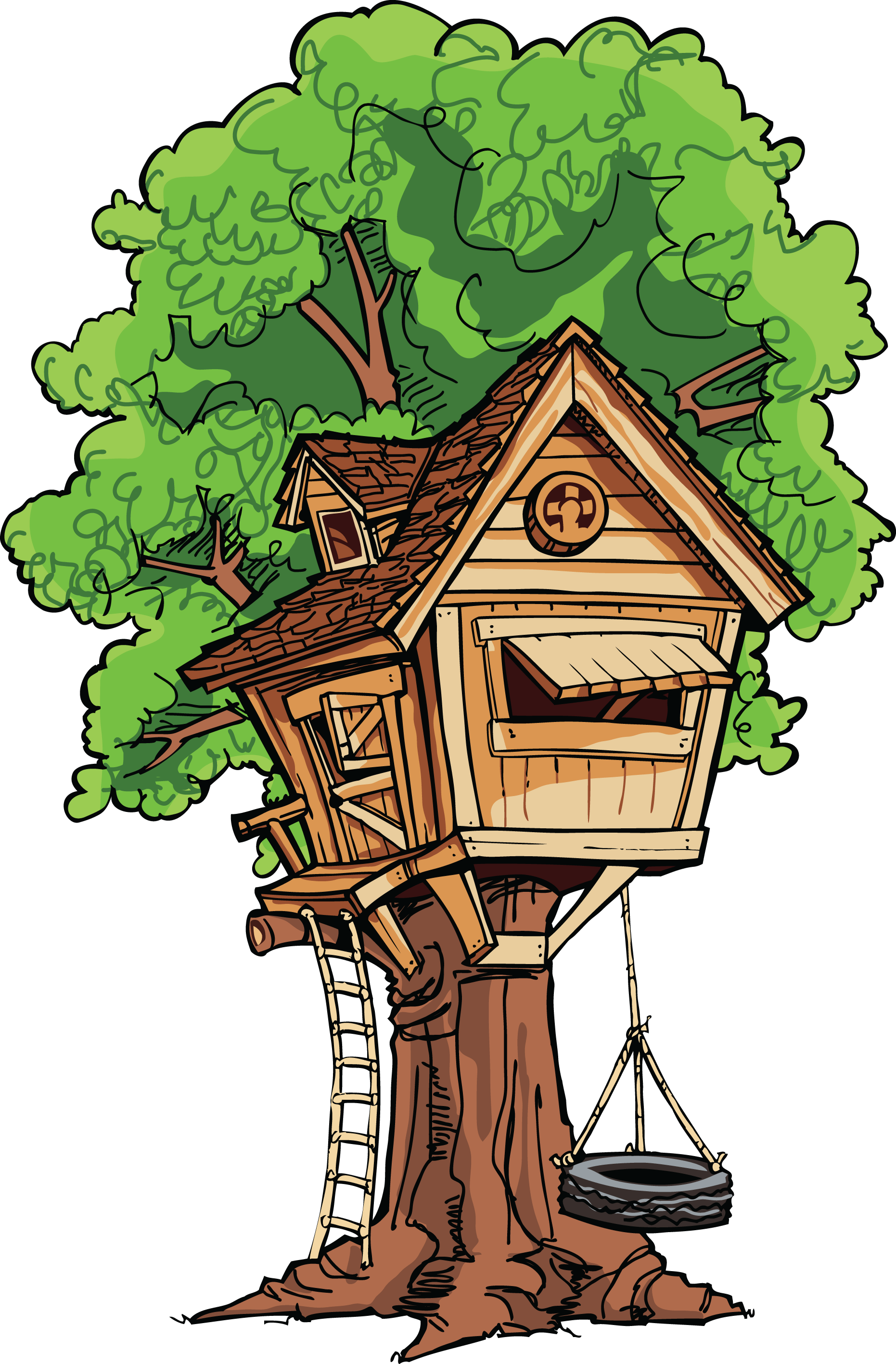 Large treehouse transparent png. Ladder clipart tree fort