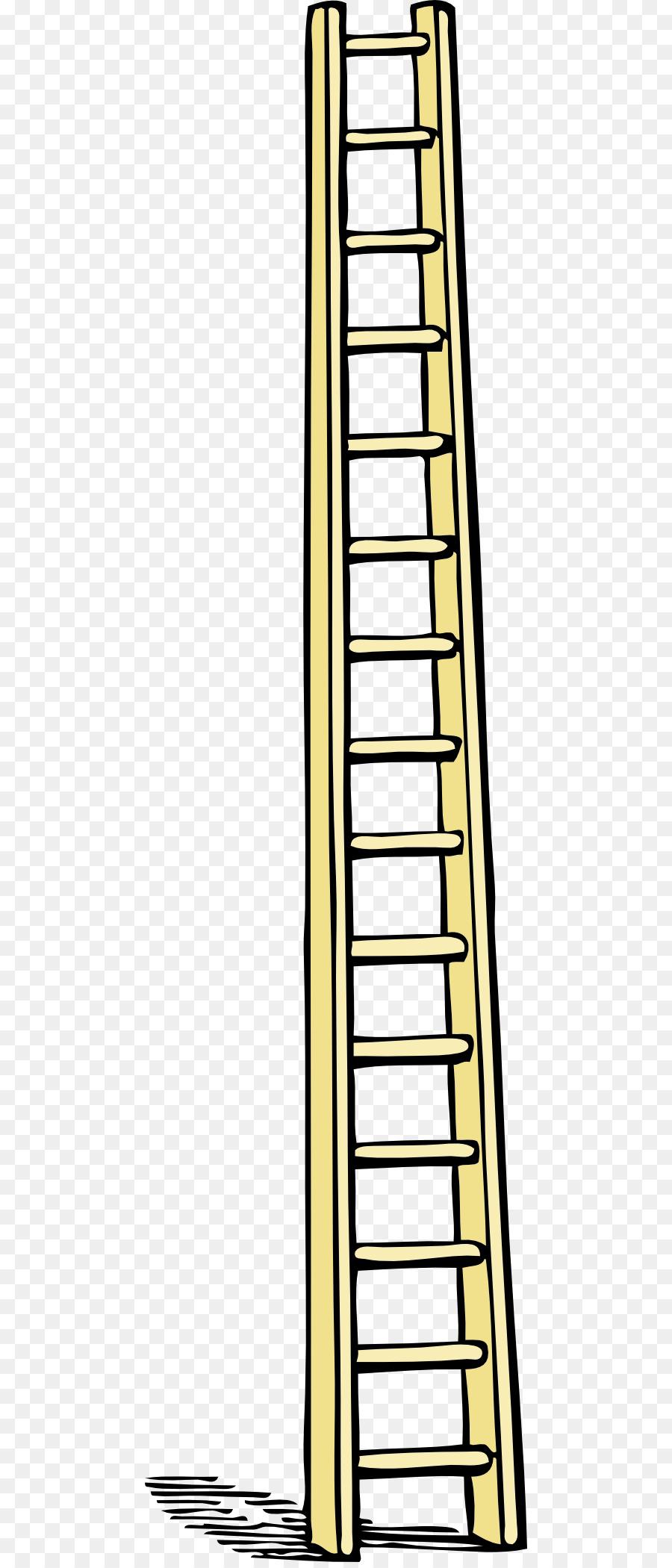 Cartoon line transparent . Ladder clipart yellow ladder