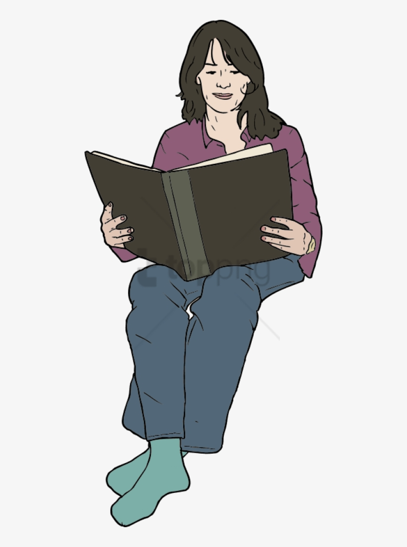 Lady clipart book. Woman reading cartoon sitting