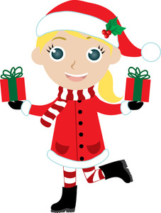 Lady clipart christmas. Illustration of a little