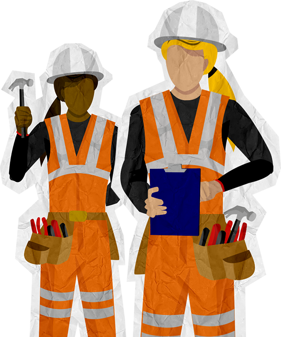Remarkable women in randstad. Lady clipart construction