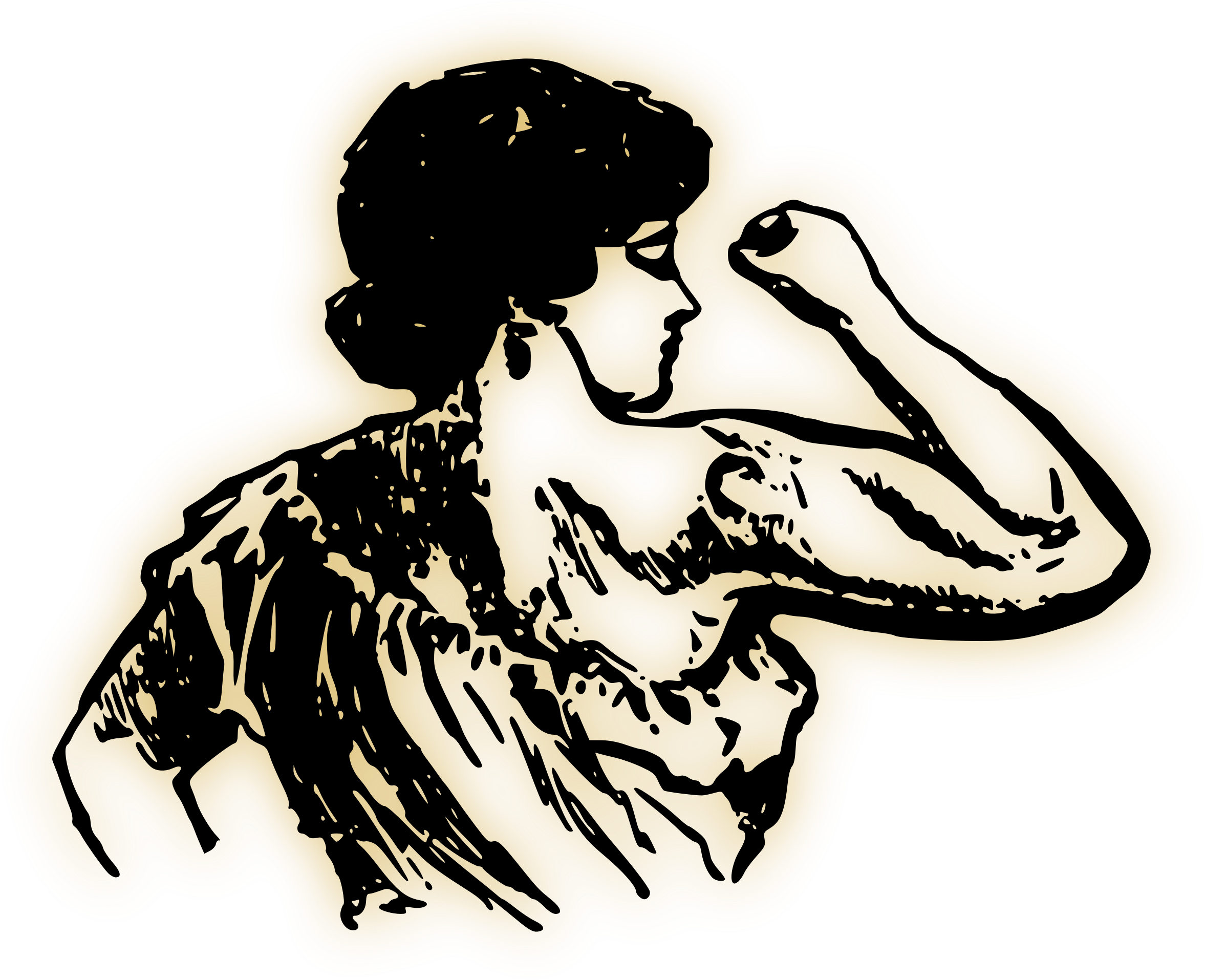 Strong woman big image. Lady clipart hands