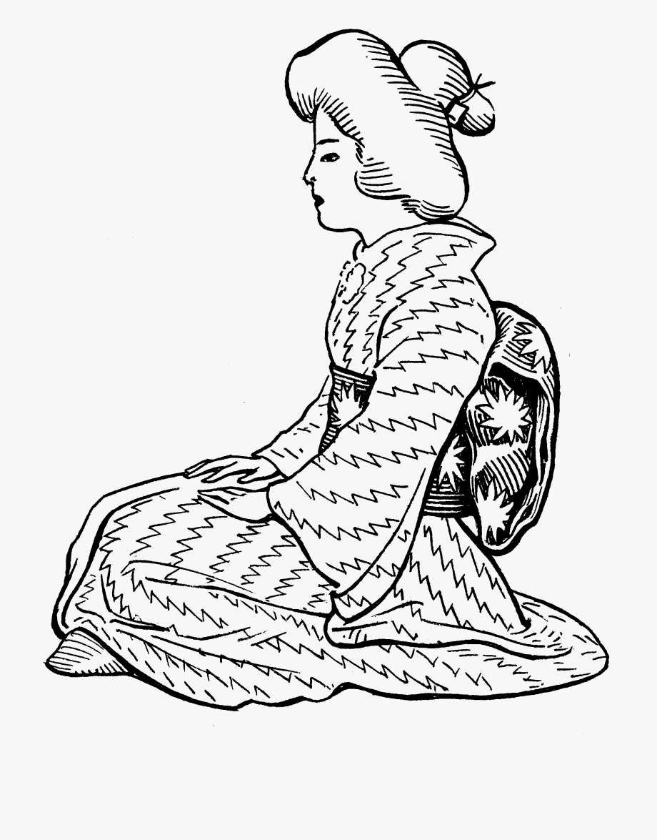 Japanese clip free . Lady clipart line art