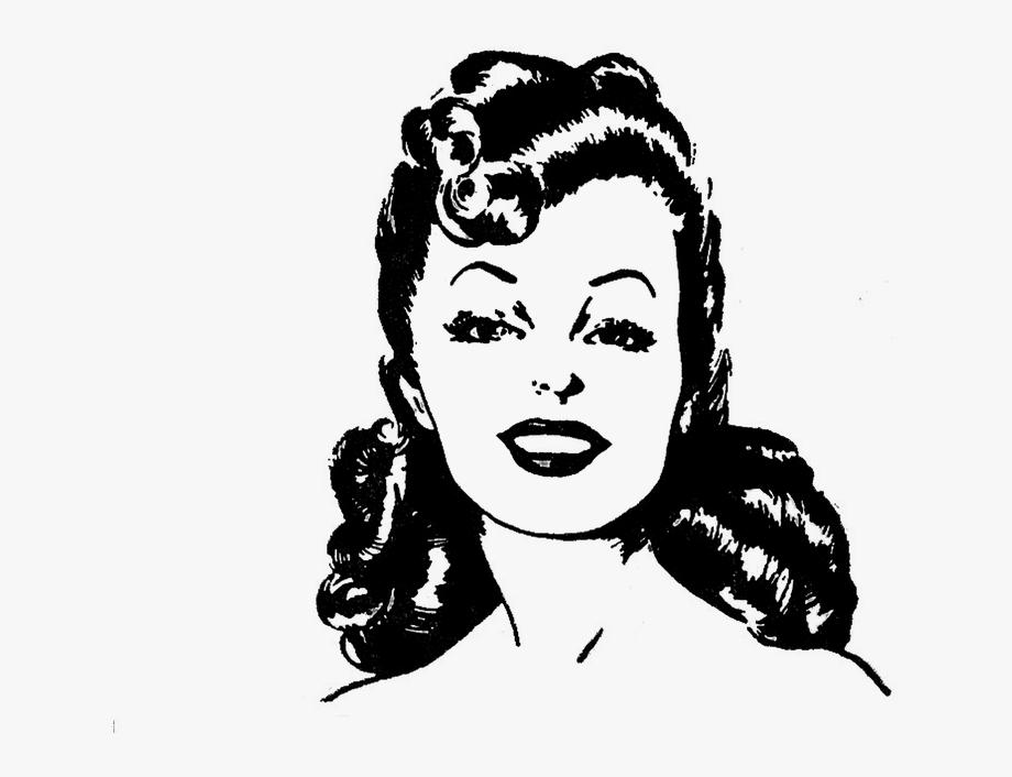 Retro clip cliparts cartoons. Lady clipart line art