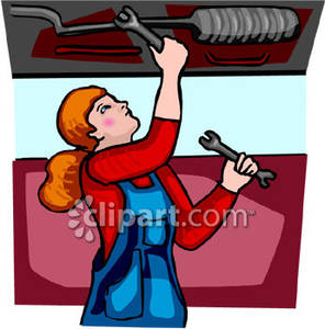 Female working on a. Mechanic clipart lady
