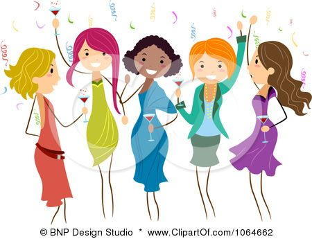 Group of ladies dancing. Lady clipart party