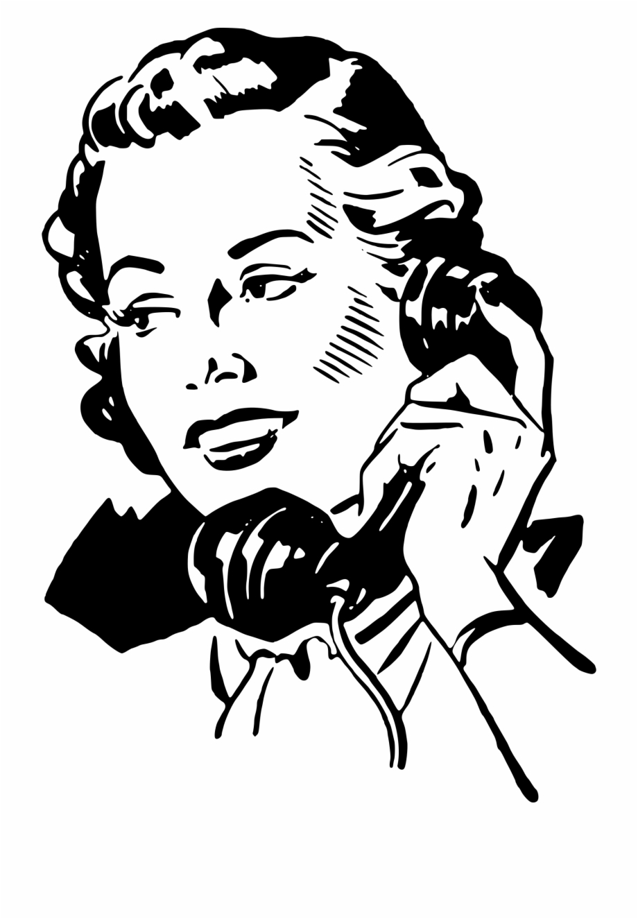 Lady clipart phone. Banner old black and