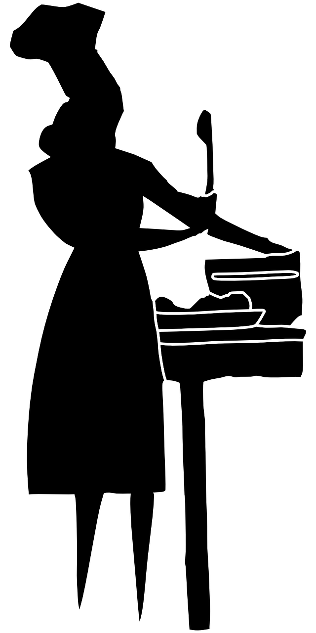 Cooking woman silhouette png. Lady clipart pianist
