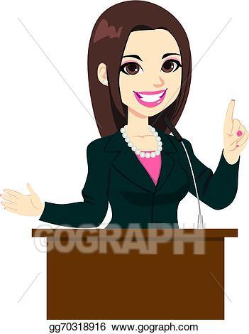 Vector art woman drawing. Politics clipart politician speech