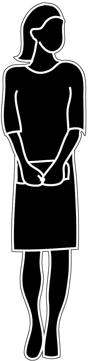 Female silhouette with handbag. Lady clipart purse