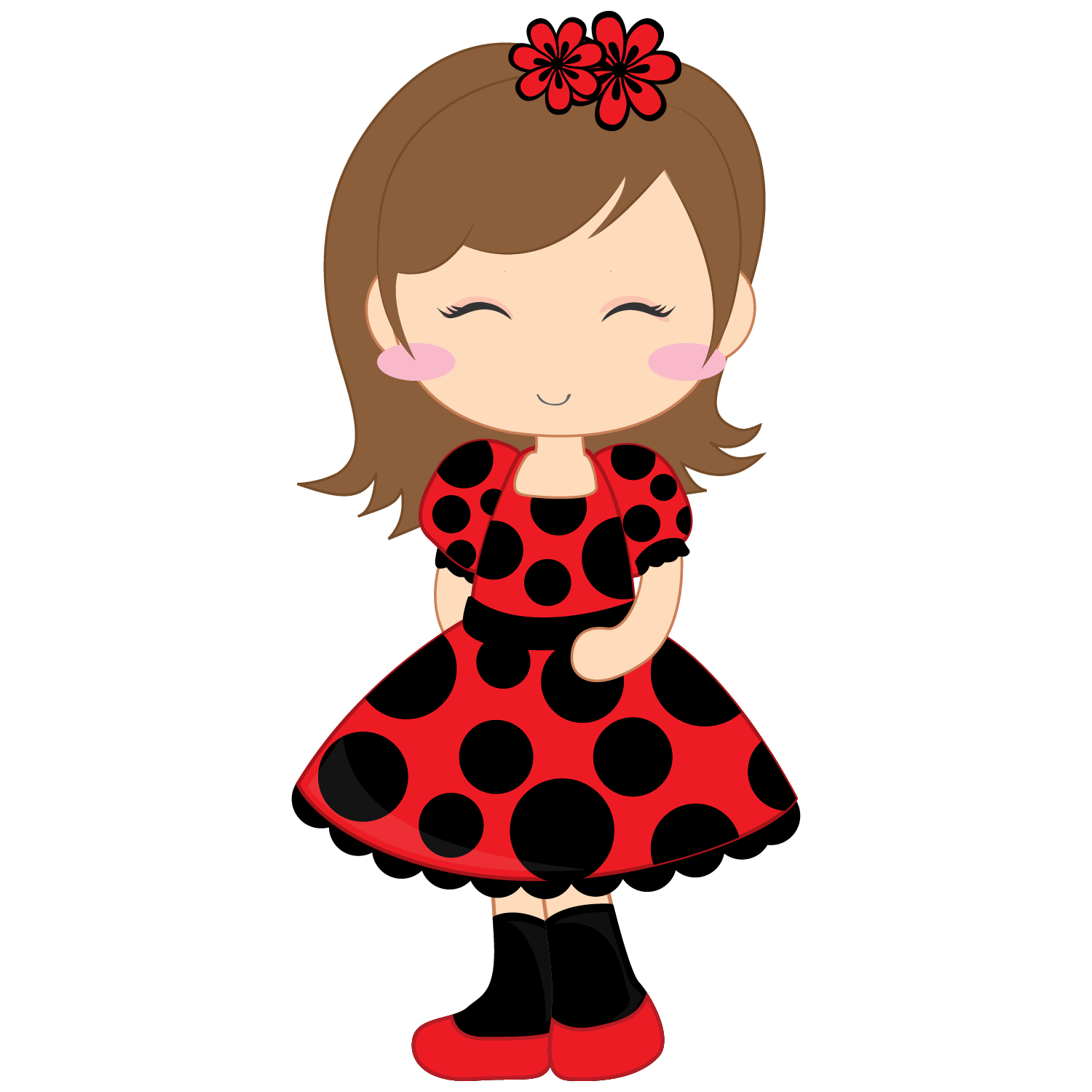 See clipart nice. Baby girl ladybug cartoon