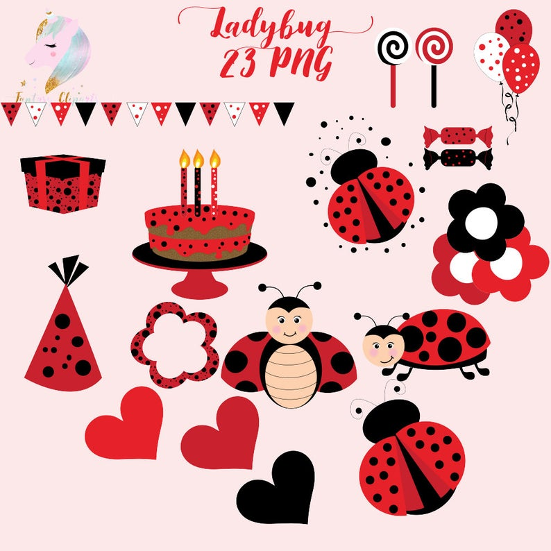 Ladybugs clipart birthday. Ladybug cute set red