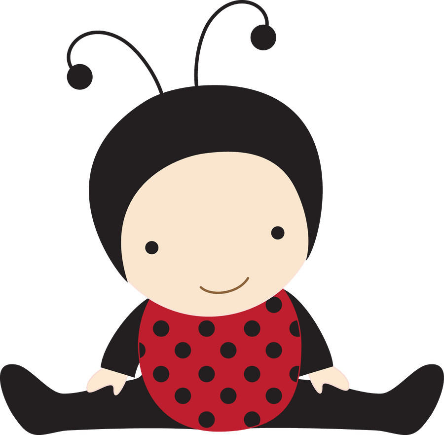 Beb menino e menina. Ladybugs clipart kid
