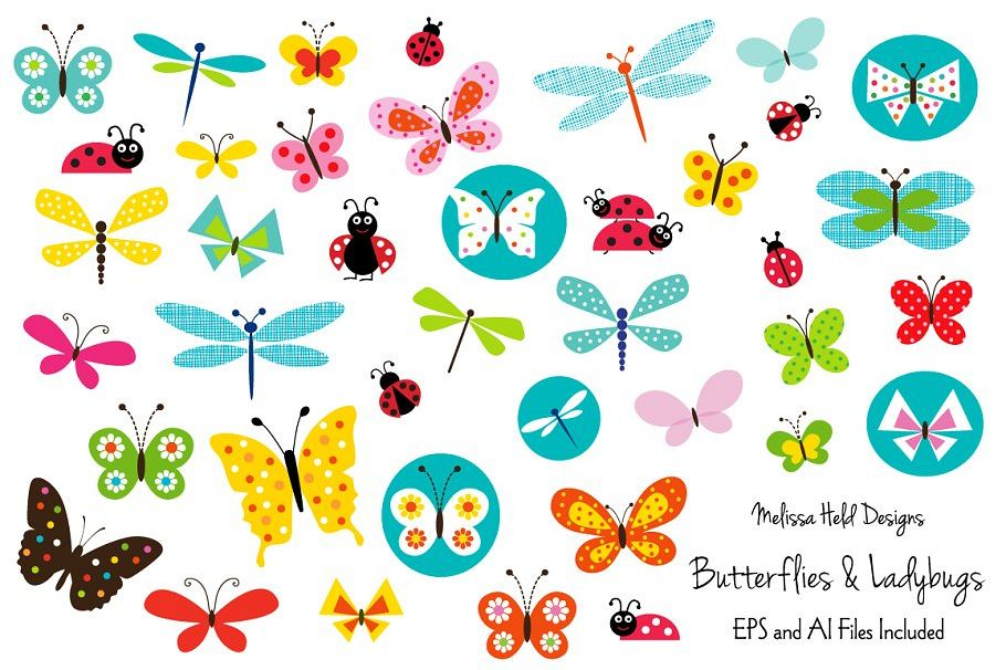 Butterflies and . Ladybugs clipart butterfly