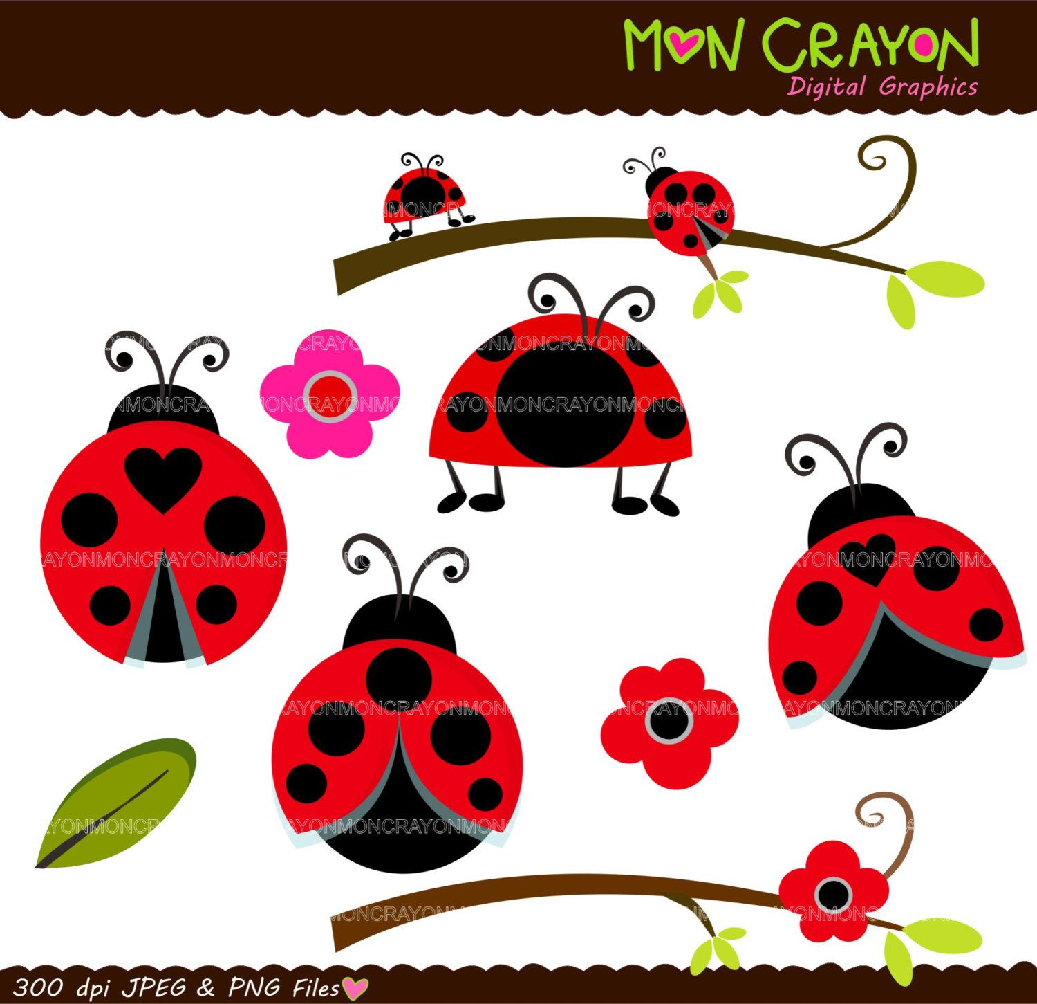 Ladybug clipart christmas. Digital clip art lady