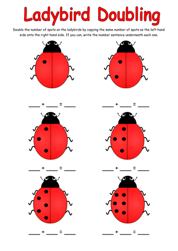 Doubling activity with ladybirds. Ladybugs clipart doubles