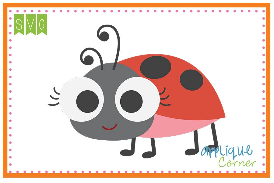 Applique corner ladybug big. Ladybugs clipart eye