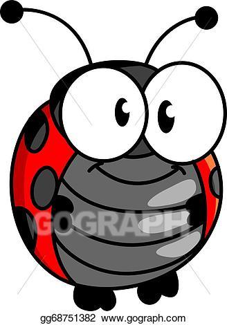 Ladybug clipart eye. Vector illustration smiling happy