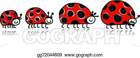Ladybugs clipart family. Vector art ladybird for