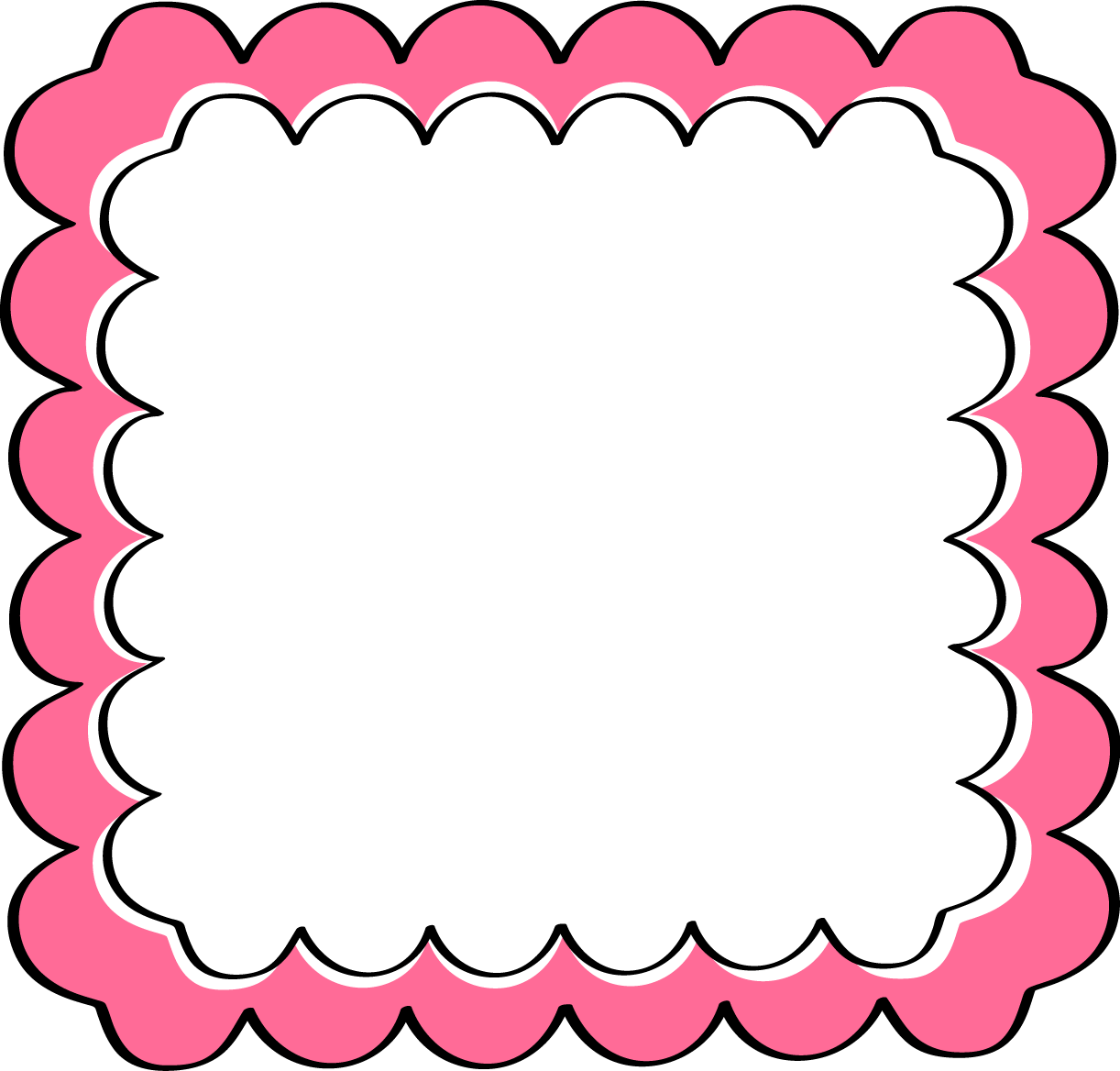 Pink scalloped photo props. Ladybug clipart frame