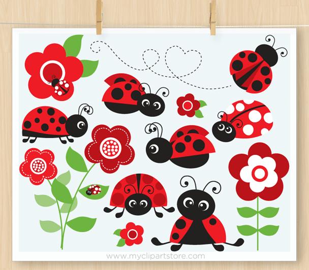 Red ladybug garden . Ladybugs clipart vector
