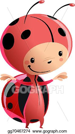 Ladybug clipart kid. Vector illustration cartoon wearing