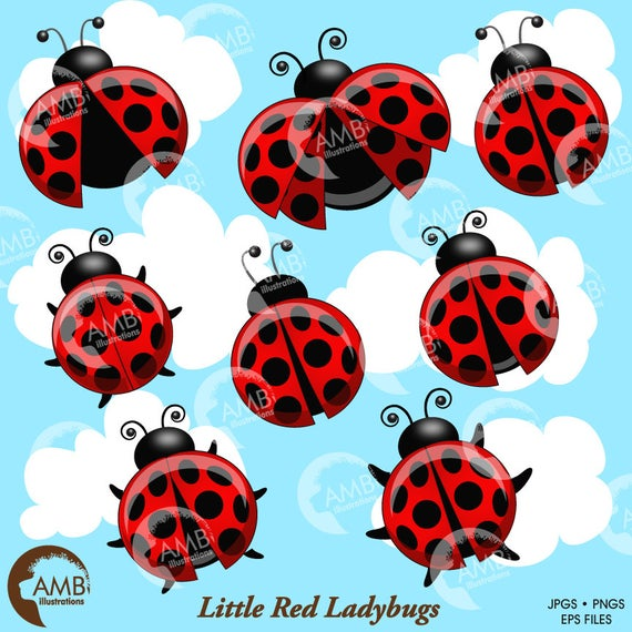 Red ladybugs insects scrapbook. Ladybug clipart little bug