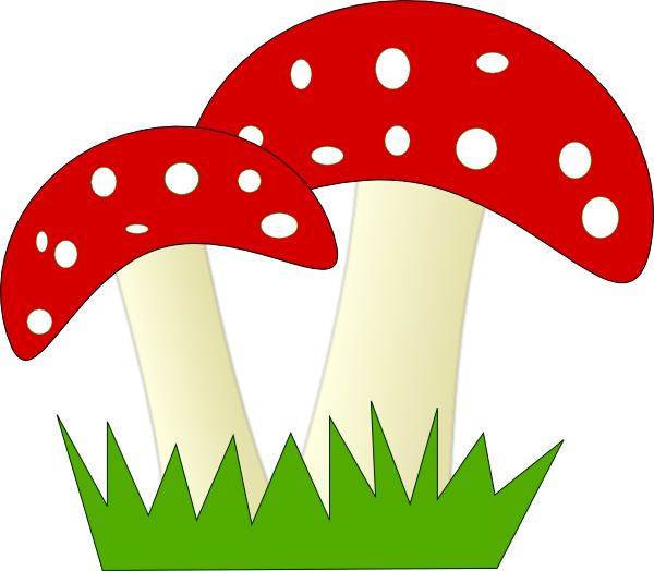 Mushrooms clipart mushroom home. Red and white dotted