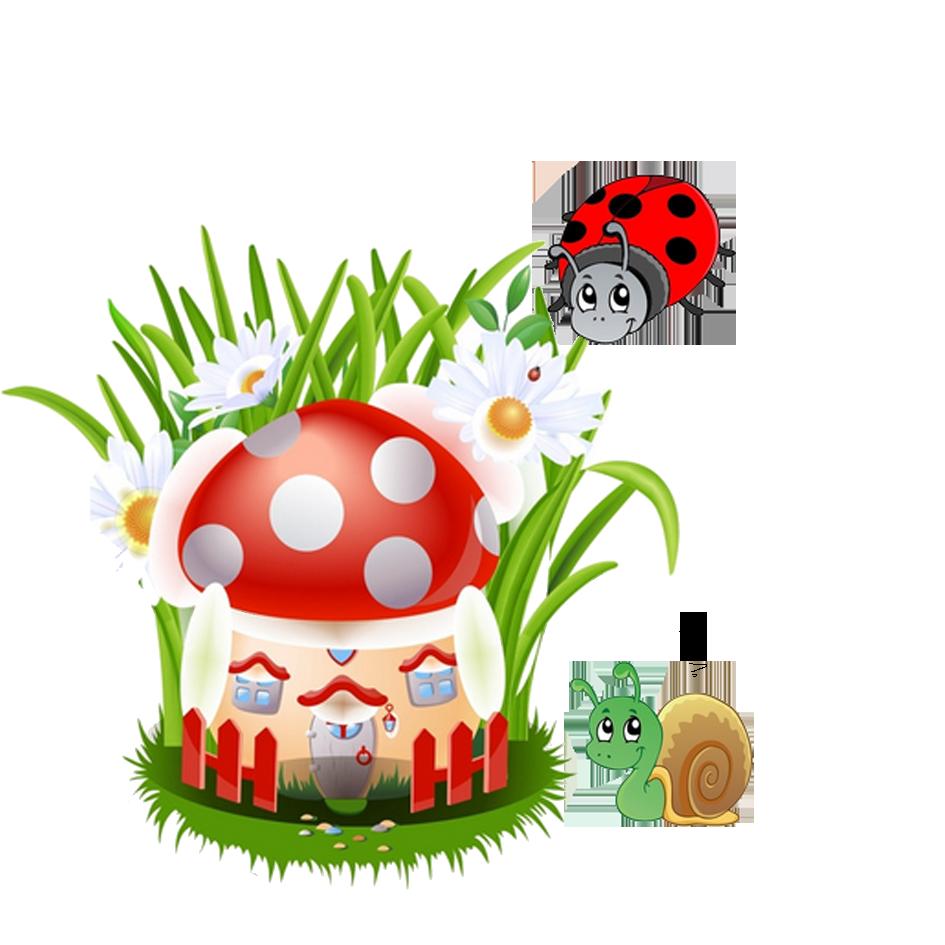 Cartoon ladybug transprent png. Mushroom clipart animation