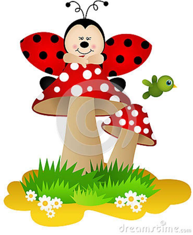 Ladybugs clipart mushroom. Pin by siti ali