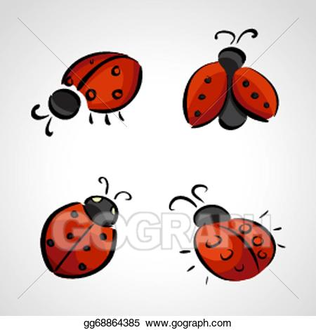Ladybug clipart sketch. Vector art icons drawing