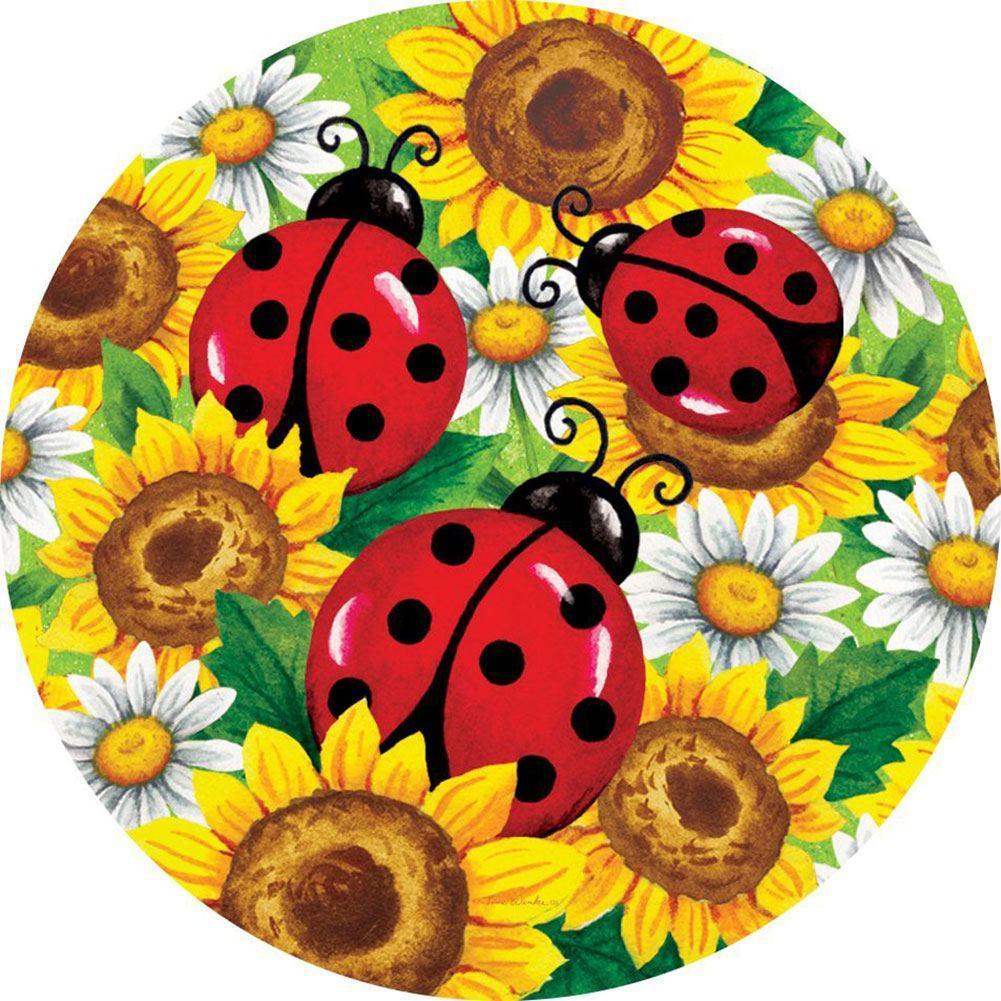 Ladybug clipart sunflower. Accent magnet