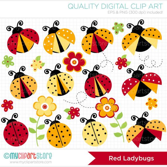 Red digital clip art. Ladybugs clipart yellow ladybug