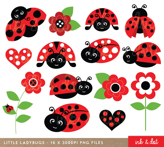 Cute ladybirds red garden. Ladybugs clipart