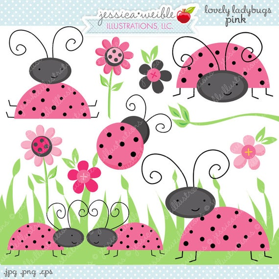 Ladybugs clipart adorable. Pink lovely cute digital
