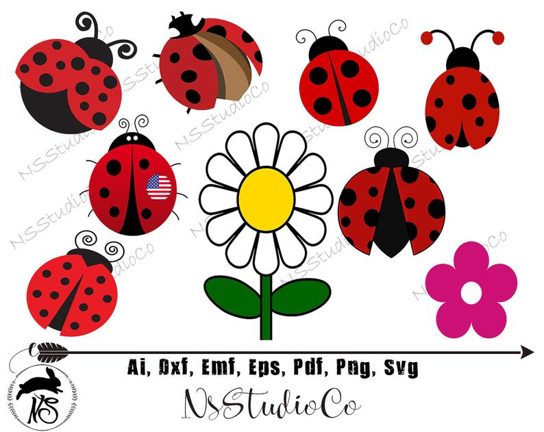 Ladybug garden flower red. Ladybugs clipart air animal