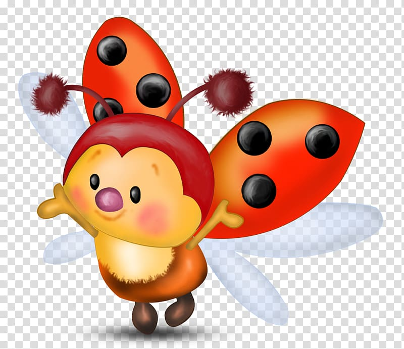 Orange and black bee. Ladybugs clipart animated