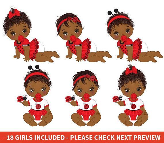 Ladybugs clipart baby shower. Ladybug girl vector african