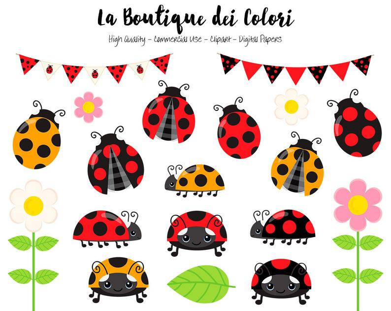 Red ladybug cute graphics. Ladybugs clipart banner